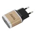 Toto TZV-41 Led Travel charger 2USB 2,1A Gold