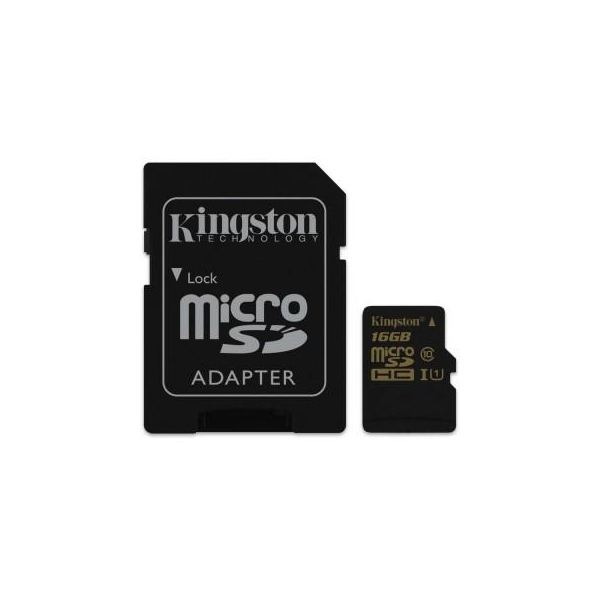 Kingston 16 GB microSDHC class 10 UHS-I + SD Adapter SDCA10/16GB