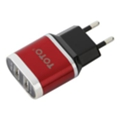 Toto TZV-41 Led Travel charger 2USB 2,1A Red