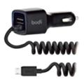 BUDI Car charger Blue Led 1USB 2.4A + Micro cable 1.2 m Black (M8J066M)