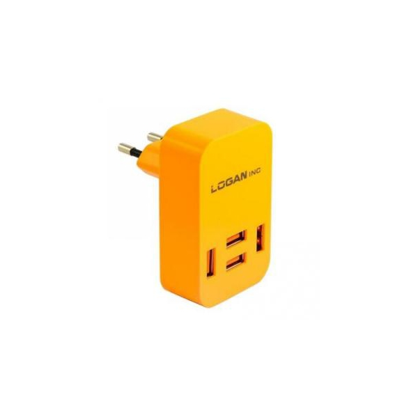 Logan Quad USB Wall Charger 5V 4A CH-4 Orange