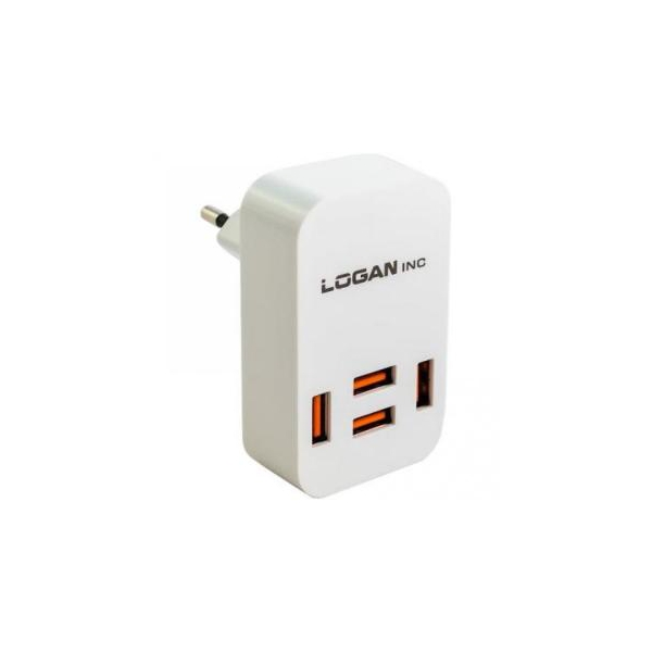 Logan Quad USB Wall Charger 5V 4A CH-4 White