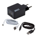 Just Core Dual USB Wall Charger Black + microUSB/Lightning (WCHRGR-CR2C-BLCK)