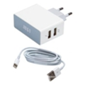 Just Core Dual USB Wall Charger White + microUSB/Lightning (WCHRGR-CR2C-WHT)