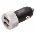Just Executive Dual USB Car Charger (4.8A/24W, 2USB) Black/Silver (CCHRGR-XCTV-BLCK)