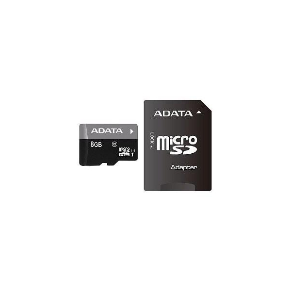 A-data 8 GB microSDHC UHS-I + SD adapter Premier AUSDH8GUICL10-RA1