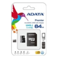 A-data 64 GB microSDXC UHS-I + SD adapter Premier AUSDX64GUICL10-RA1