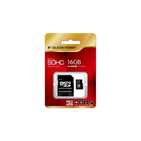 Silicon Power 16 GB microSDHC Class 10 + SD adapter SP016GBSTH010V10-SP