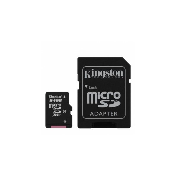 Kingston 64 GB microSDXC class 10 + SD Adapter SDCX10/64GB