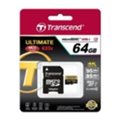 Transcend 64 GB microSDXC UHS-I U3 Ultimate + SD Adapter TS64GUSDU3